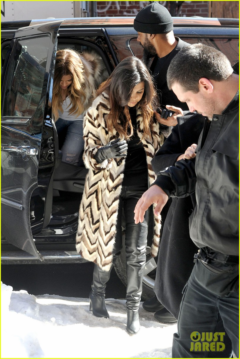kim kardashian films kuwtk with her sisters khloe sends message on coat fxck yo fur 263055144