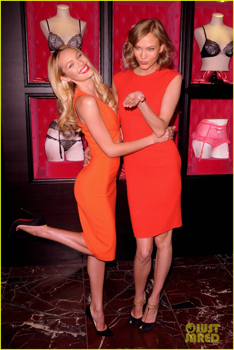 karlie kloss candice swanepoel celebrate victorias secret bombshell day 013047437