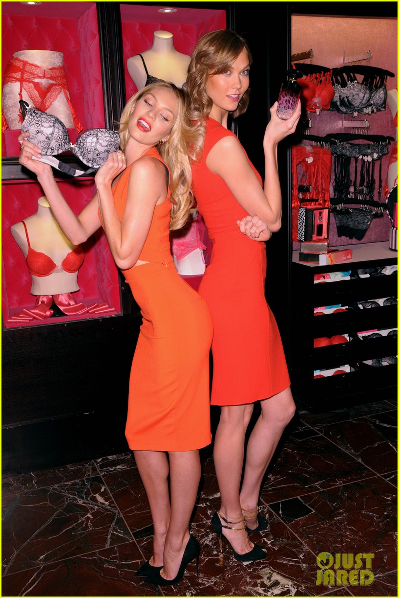 karlie kloss candice swanepoel celebrate victorias secret bombshell day 033047439