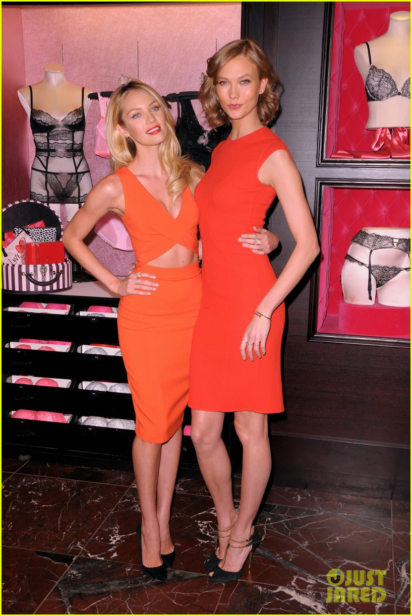 karlie kloss candice swanepoel celebrate victorias secret bombshell day 083047444