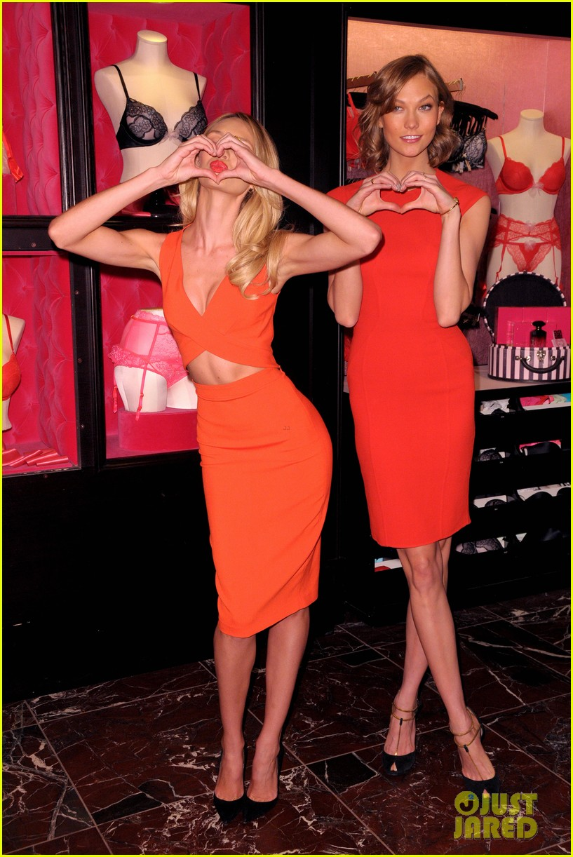 karlie kloss candice swanepoel celebrate victorias secret bombshell day 093047445