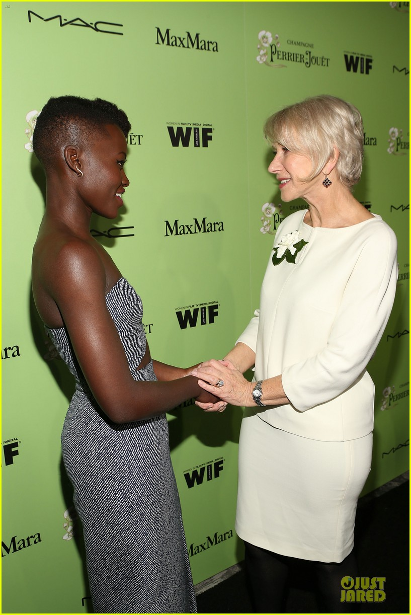 lupita nyongo helen mirren show admiration for each other at woemn in film pre oscar party 023062584