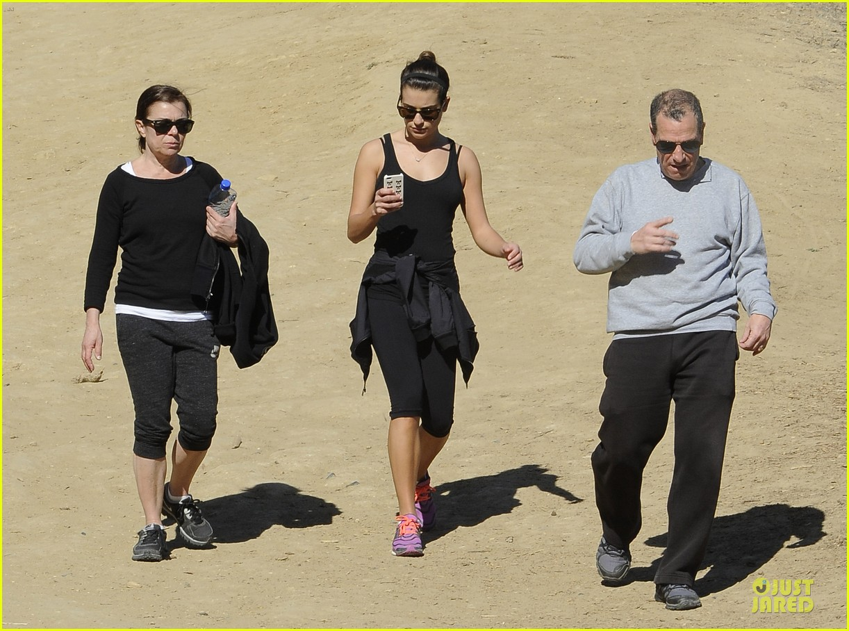 lea michele starts the week right with a family hike 063047095