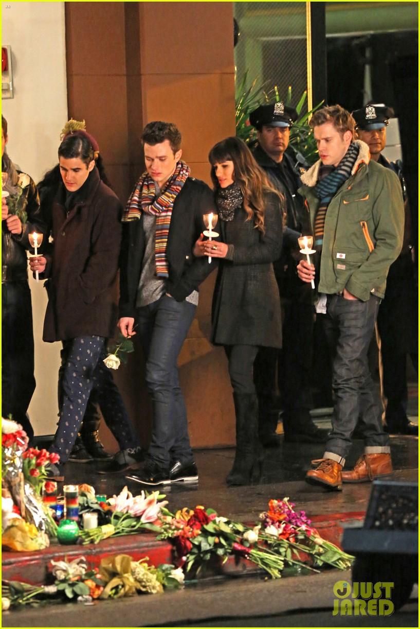 lea michele chris colfer film memorial scene for glee 043060830
