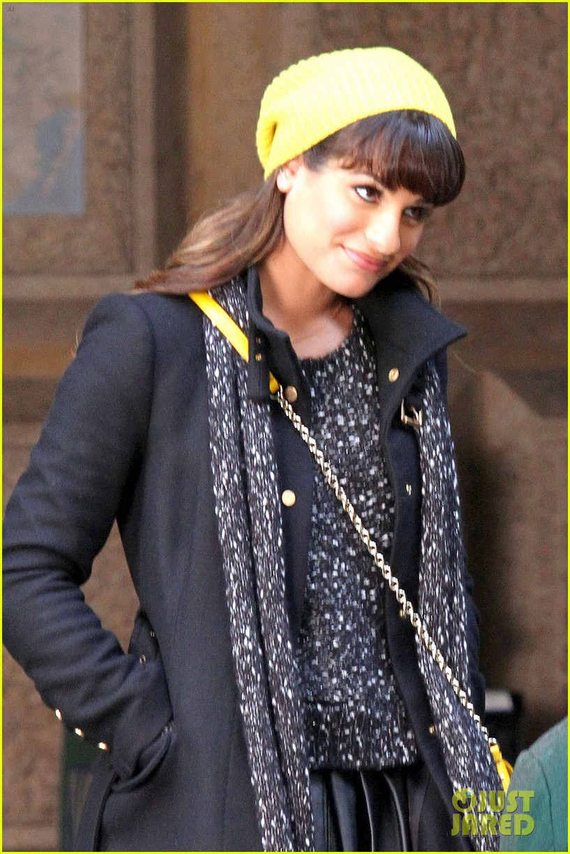 lea michele films glee new york scenes with kevin mchale 023056531