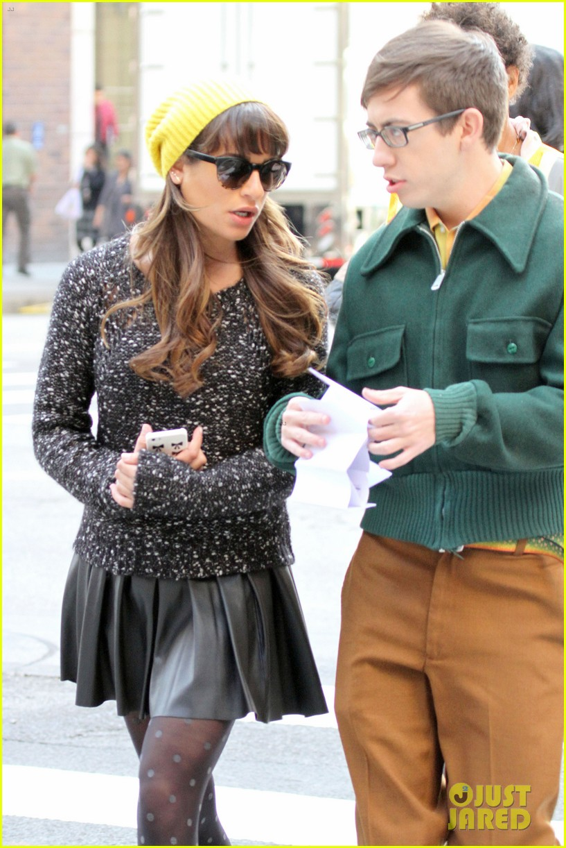 lea michele films glee new york scenes with kevin mchale 043056533