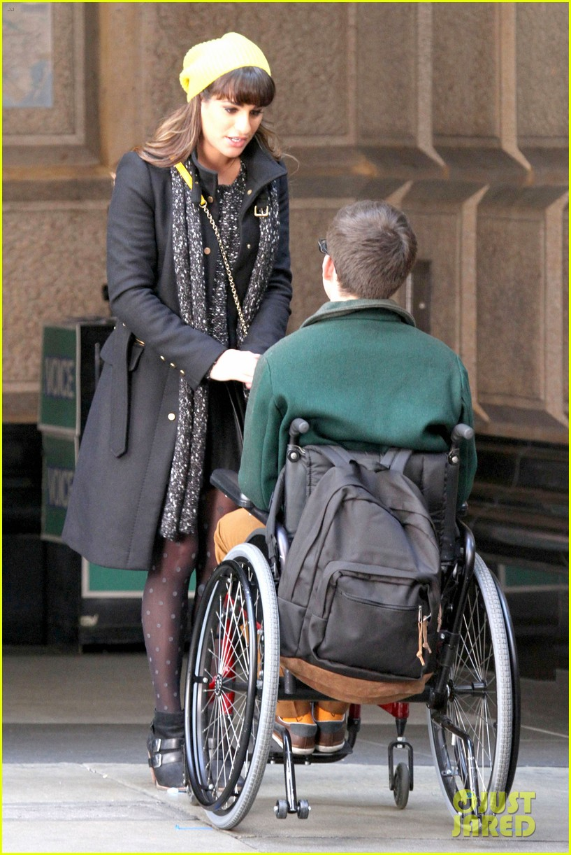 lea michele films glee new york scenes with kevin mchale 053056534