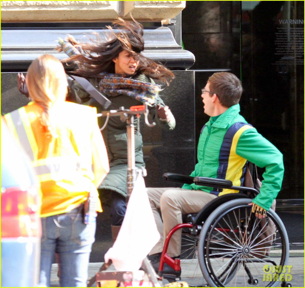 lea michele films glee new york scenes with kevin mchale 083056537