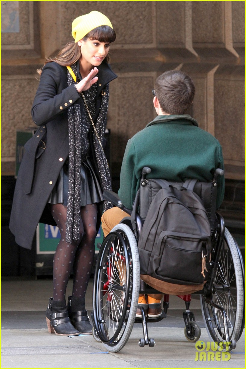 lea michele films glee new york scenes with kevin mchale 113056540