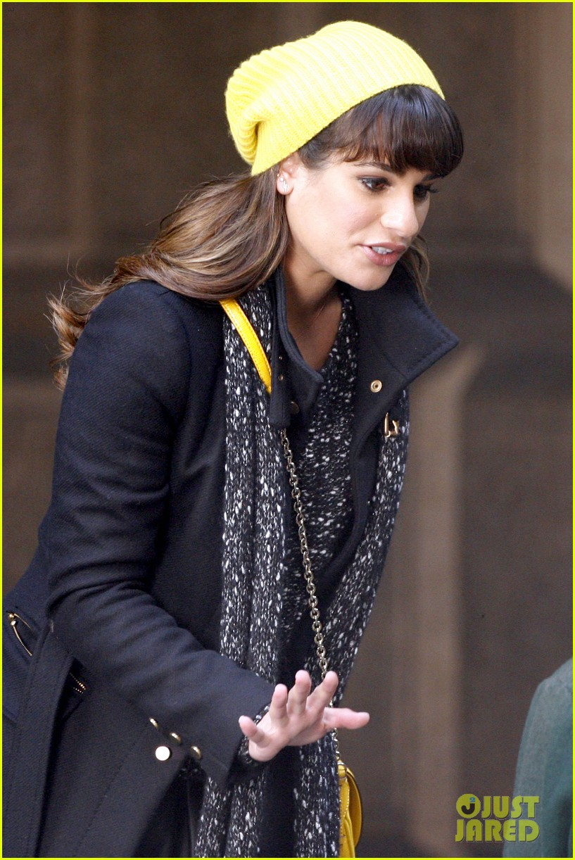 lea michele films glee new york scenes with kevin mchale 123056541