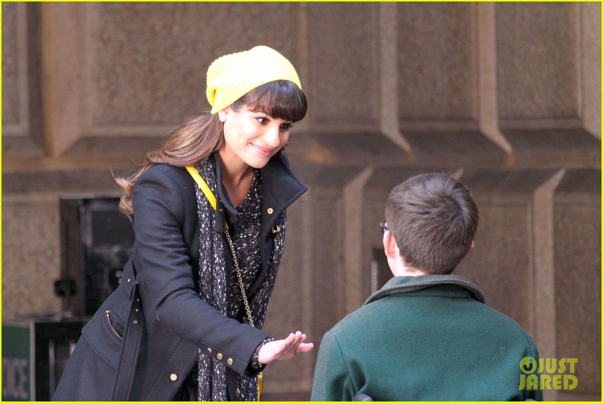 lea michele films glee new york scenes with kevin mchale 133056542