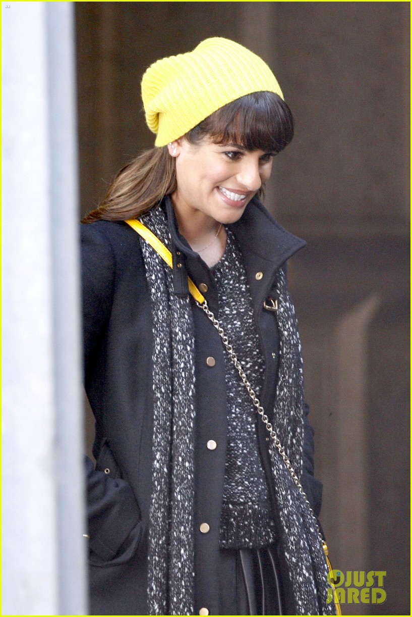lea michele films glee new york scenes with kevin mchale 153056544
