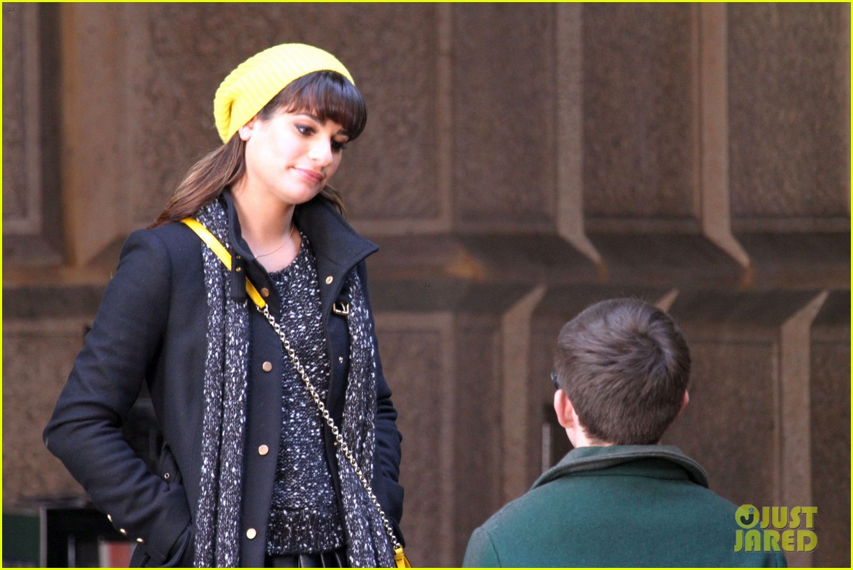 lea michele films glee new york scenes with kevin mchale 163056545