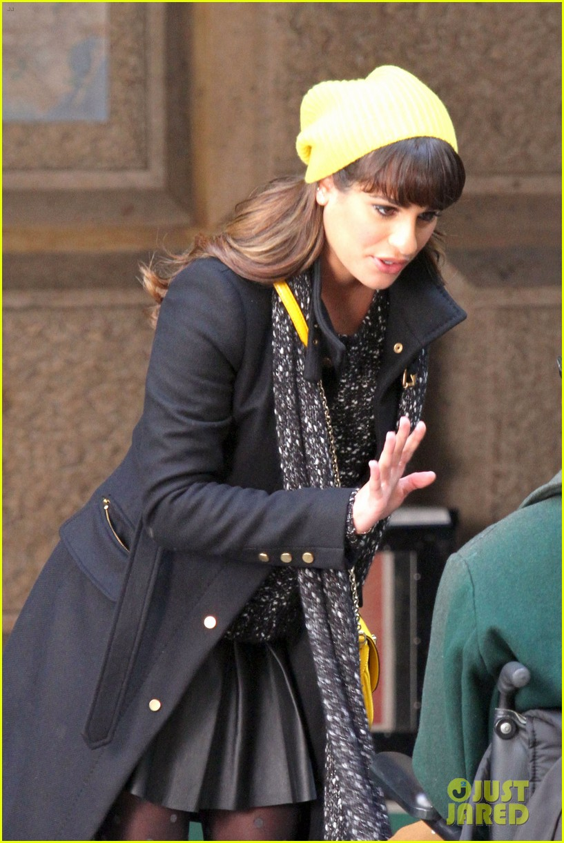 lea michele films glee new york scenes with kevin mchale 183056547