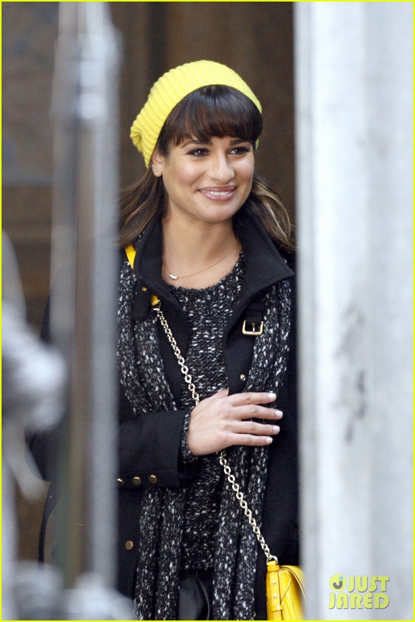 lea michele films glee new york scenes with kevin mchale 193056548