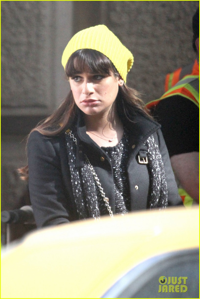 lea michele films glee new york scenes with kevin mchale 203056549