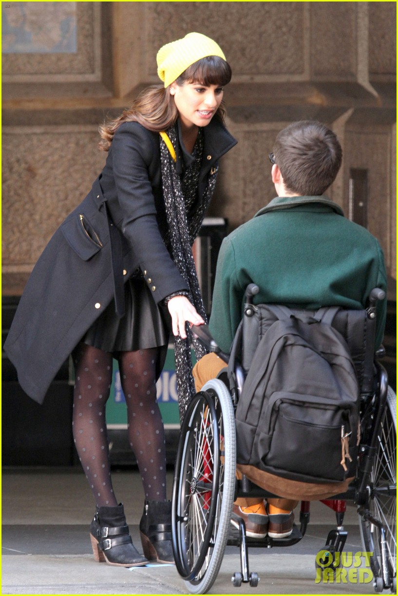 lea michele films glee new york scenes with kevin mchale 223056551