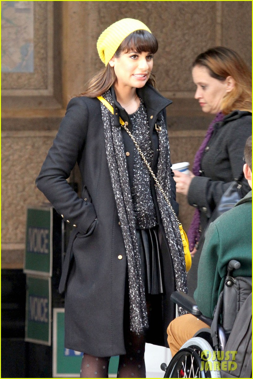 lea michele films glee new york scenes with kevin mchale 233056552