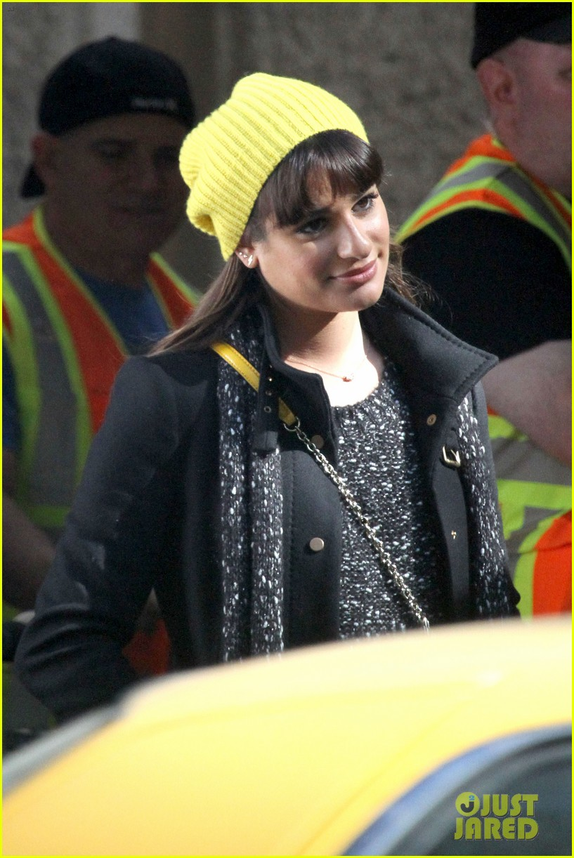 lea michele films glee new york scenes with kevin mchale 25