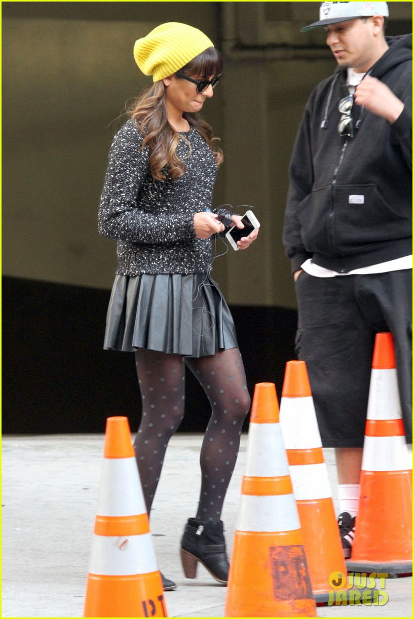 lea michele films glee new york scenes with kevin mchale 303056559
