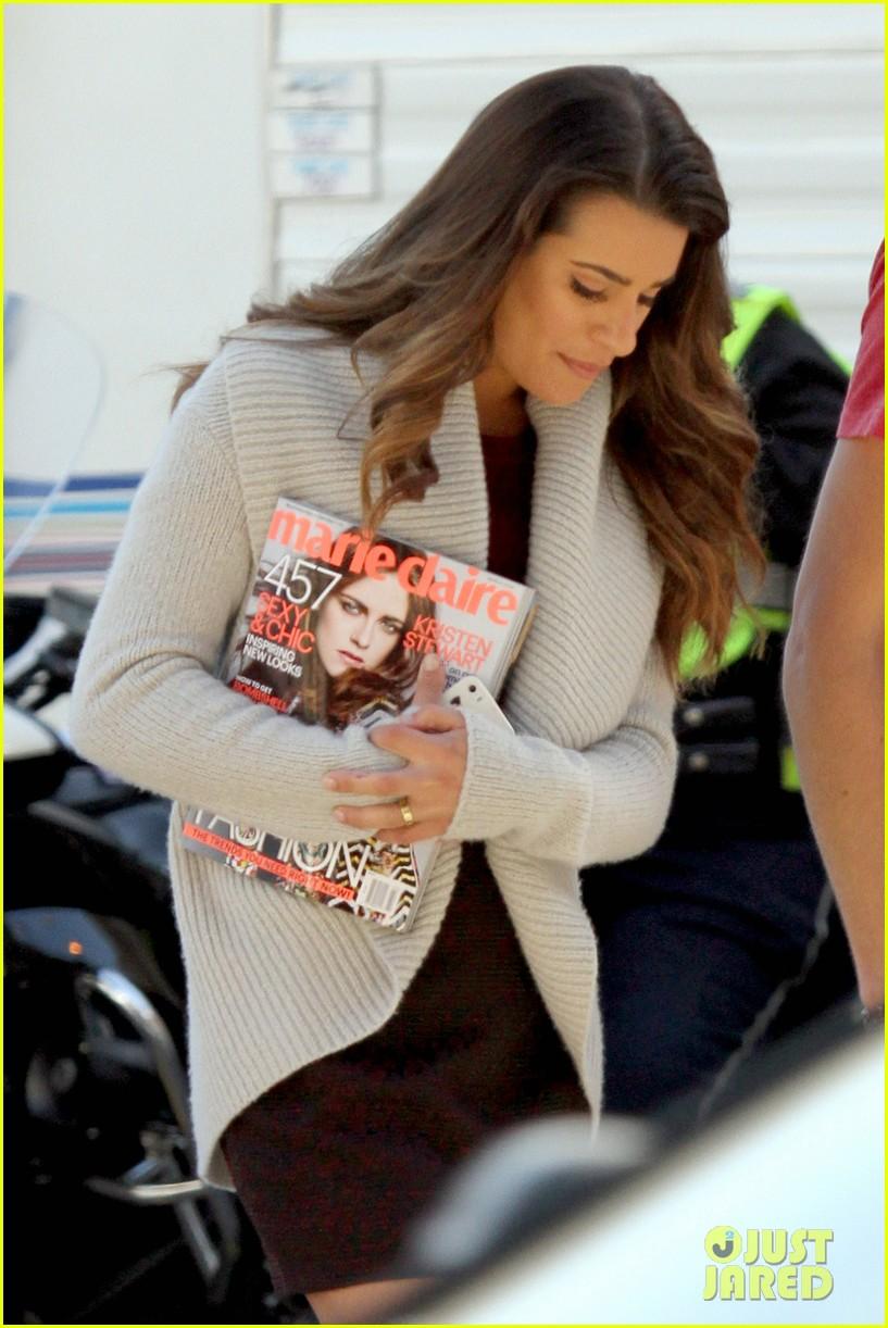 lea michele reads kristen stewarts marie claire magazine issue 02