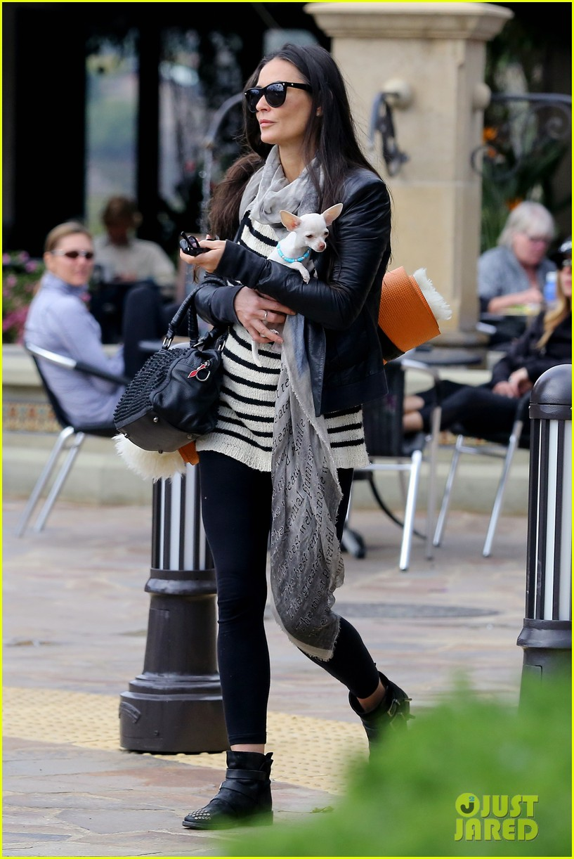 demi moore takes her tiny dog to yoga class 013051305