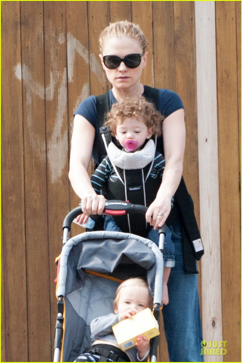 anna paquin casual saturday stroll with the twins 023058597