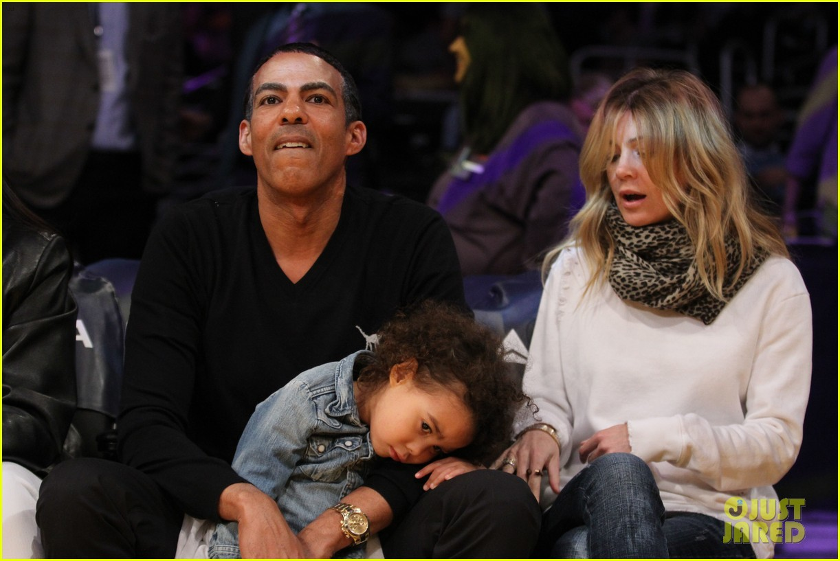 ellen pompeo will ferrell lakers courtside seats with the kids 083059757