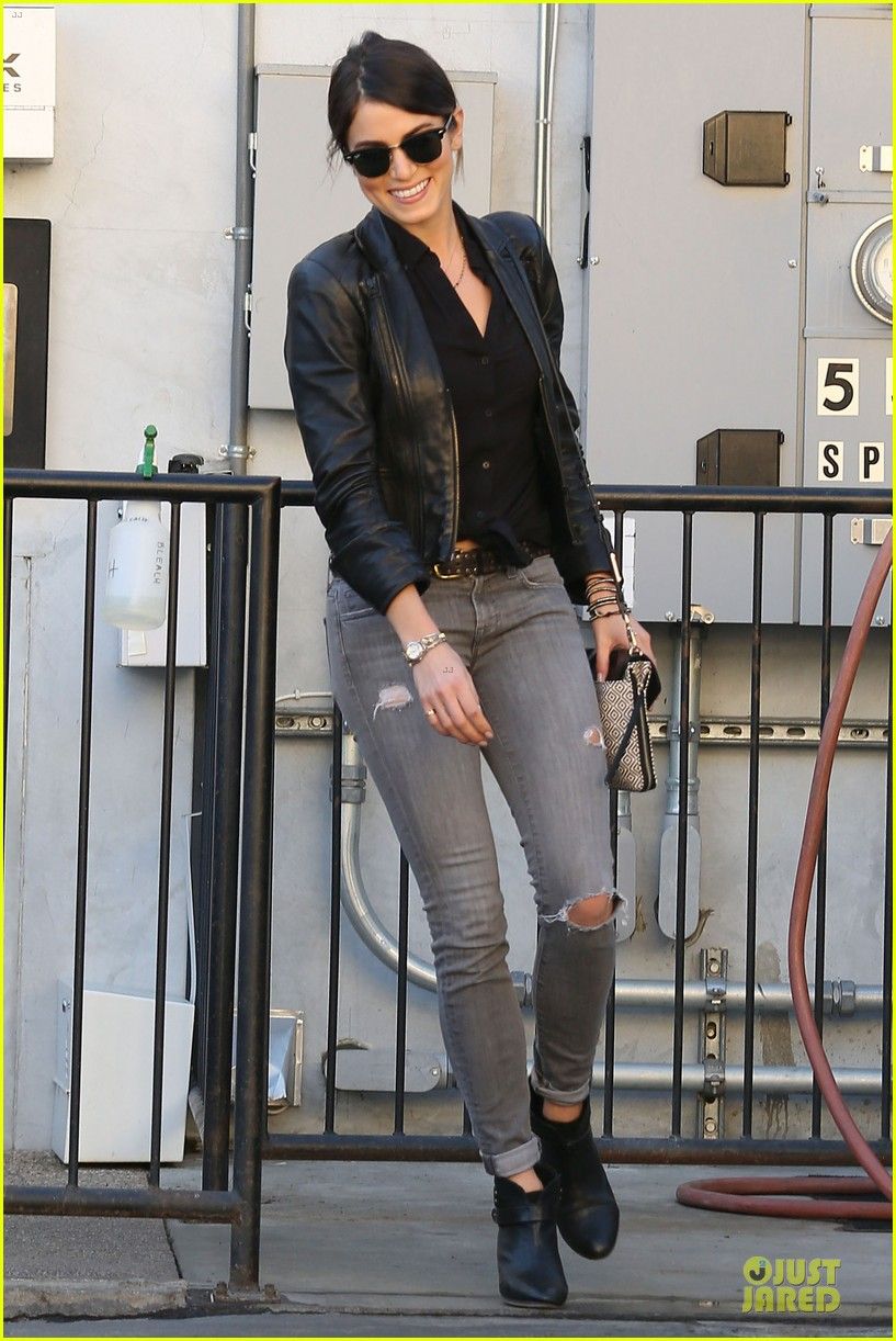 nikki reed rocks leather for spot shopping 013058498