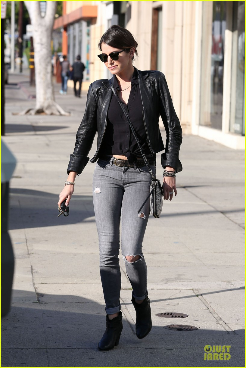 nikki reed rocks leather for spot shopping 093058506