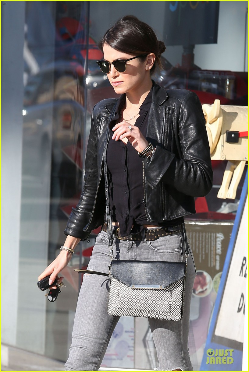 nikki reed rocks leather for spot shopping 103058507