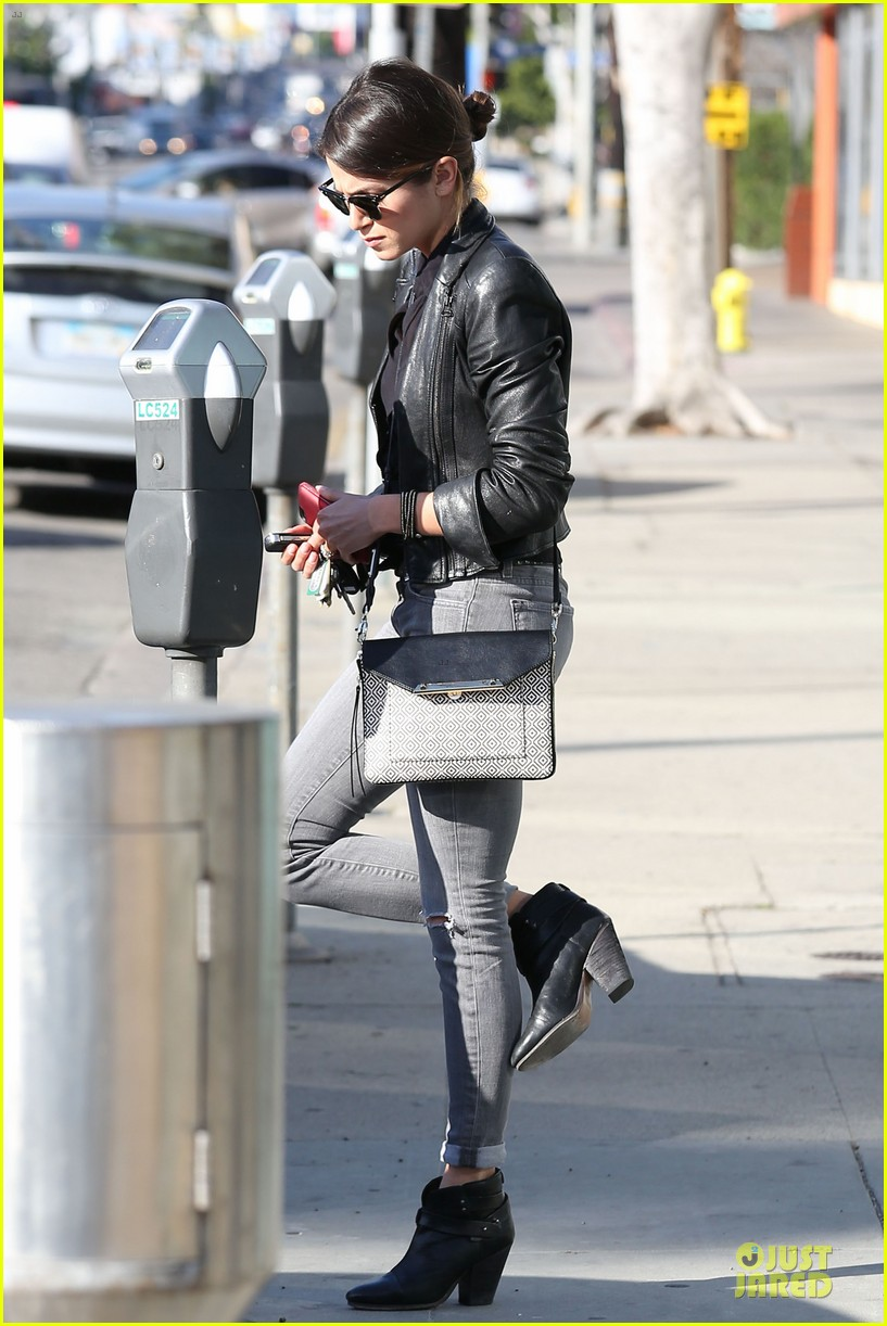 nikki reed rocks leather for spot shopping 123058509