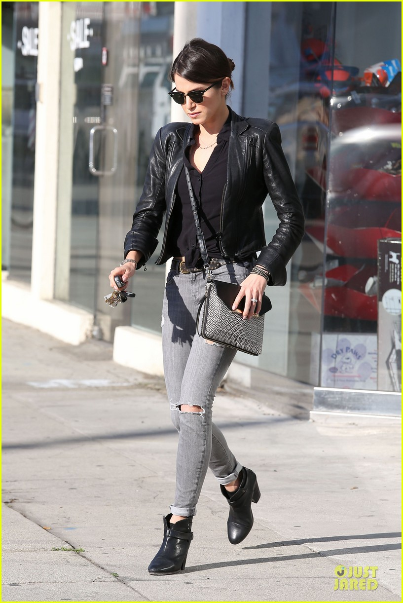 nikki reed rocks leather for spot shopping 13