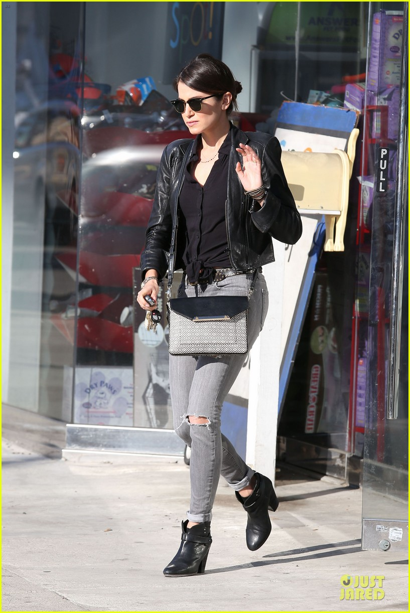 nikki reed rocks leather for spot shopping 143058511
