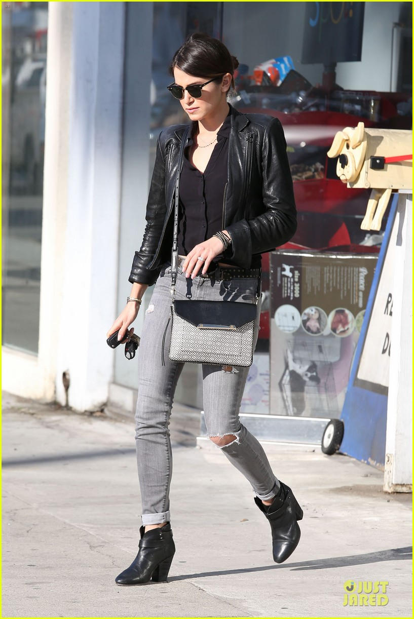 nikki reed rocks leather for spot shopping 153058512