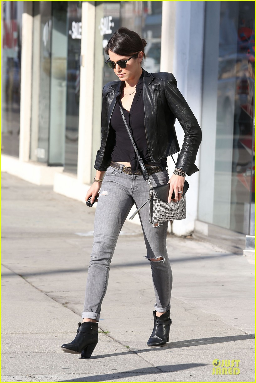 nikki reed rocks leather for spot shopping 173058514