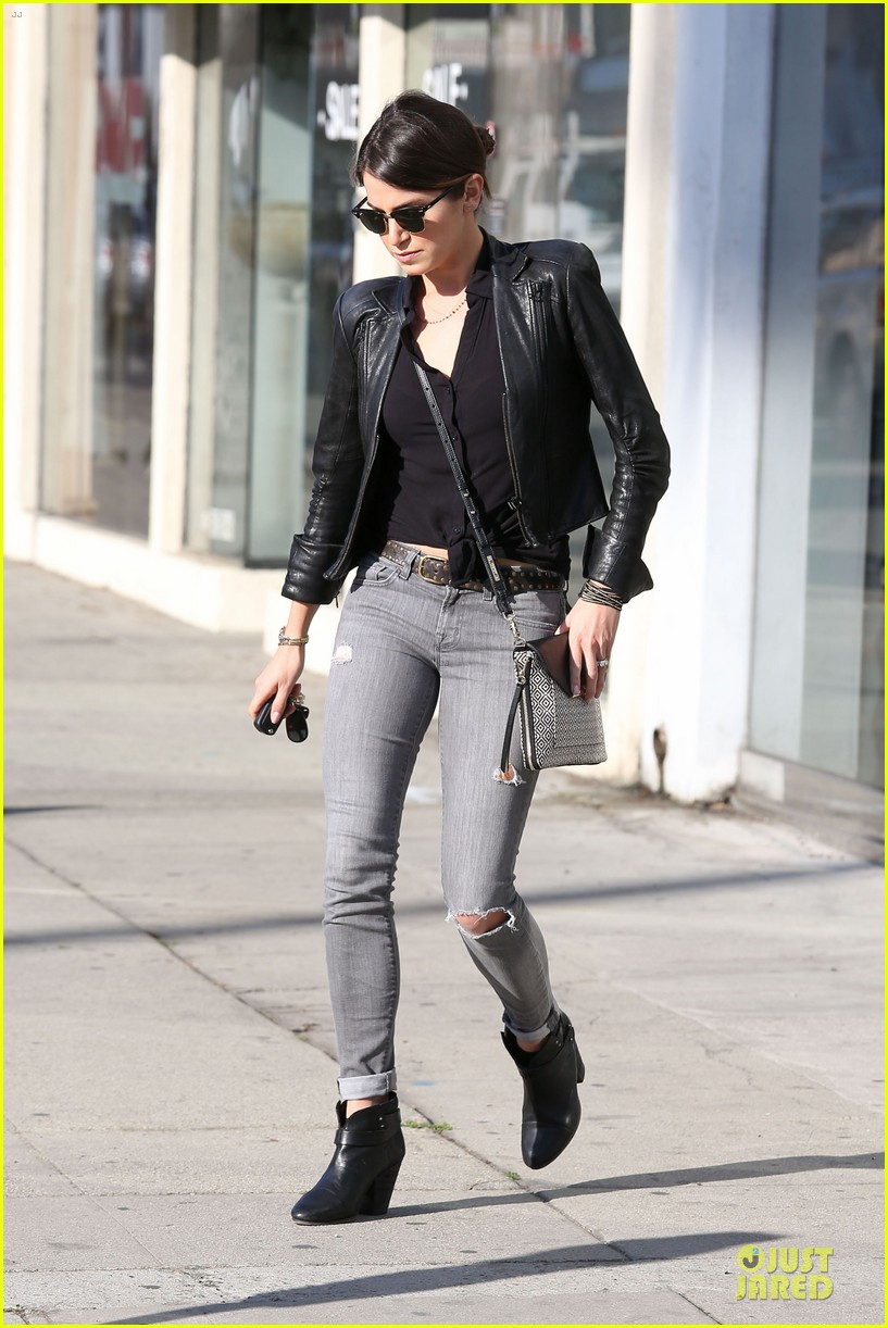 nikki reed rocks leather for spot shopping 19