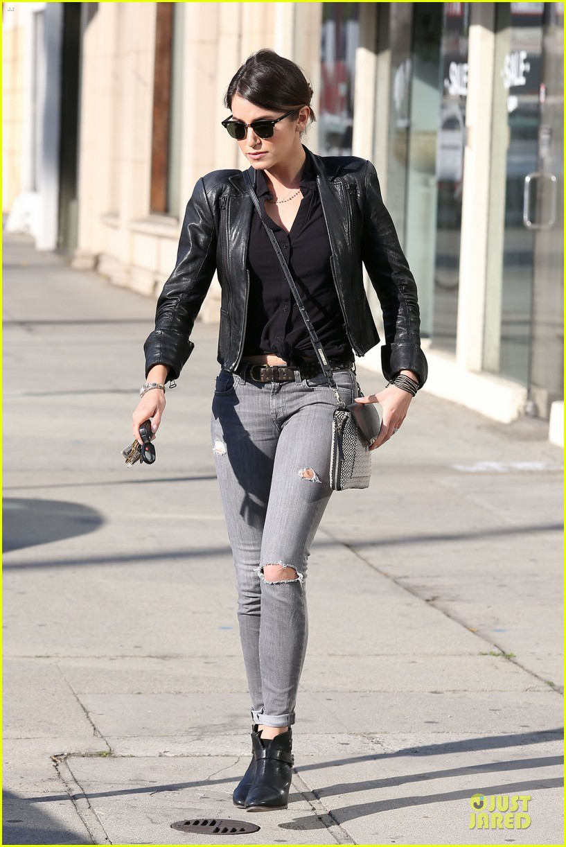 nikki reed rocks leather for spot shopping 203058517