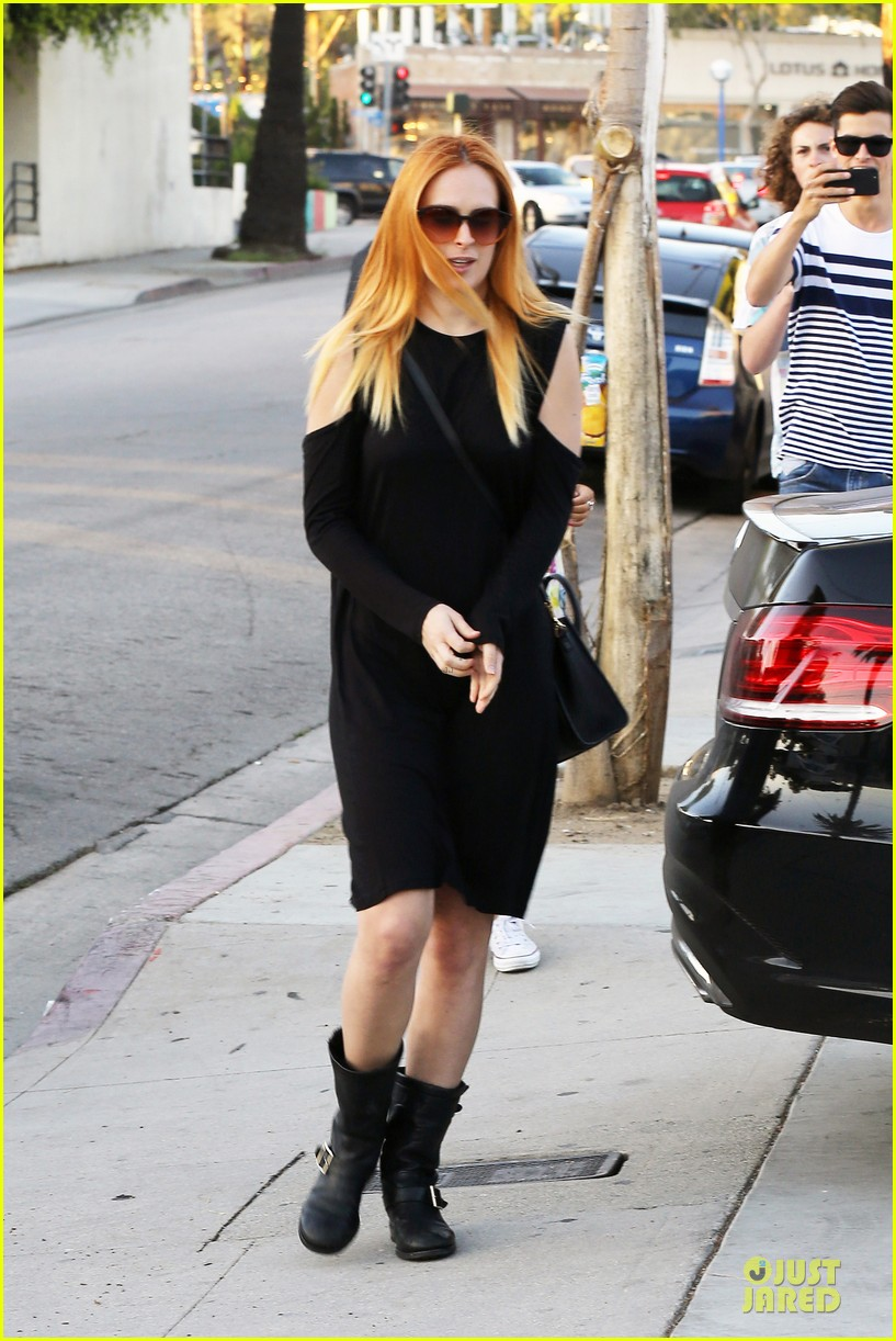 rumer willis rocks lighter hair at andy lecompte salon 183053529