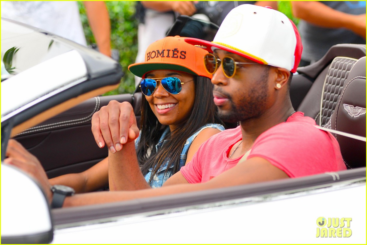 gabrielle union dwyane wade cruise around with the top down in miami 033061640
