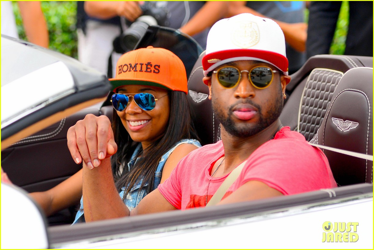 gabrielle union dwyane wade cruise around with the top down in miami 063061643