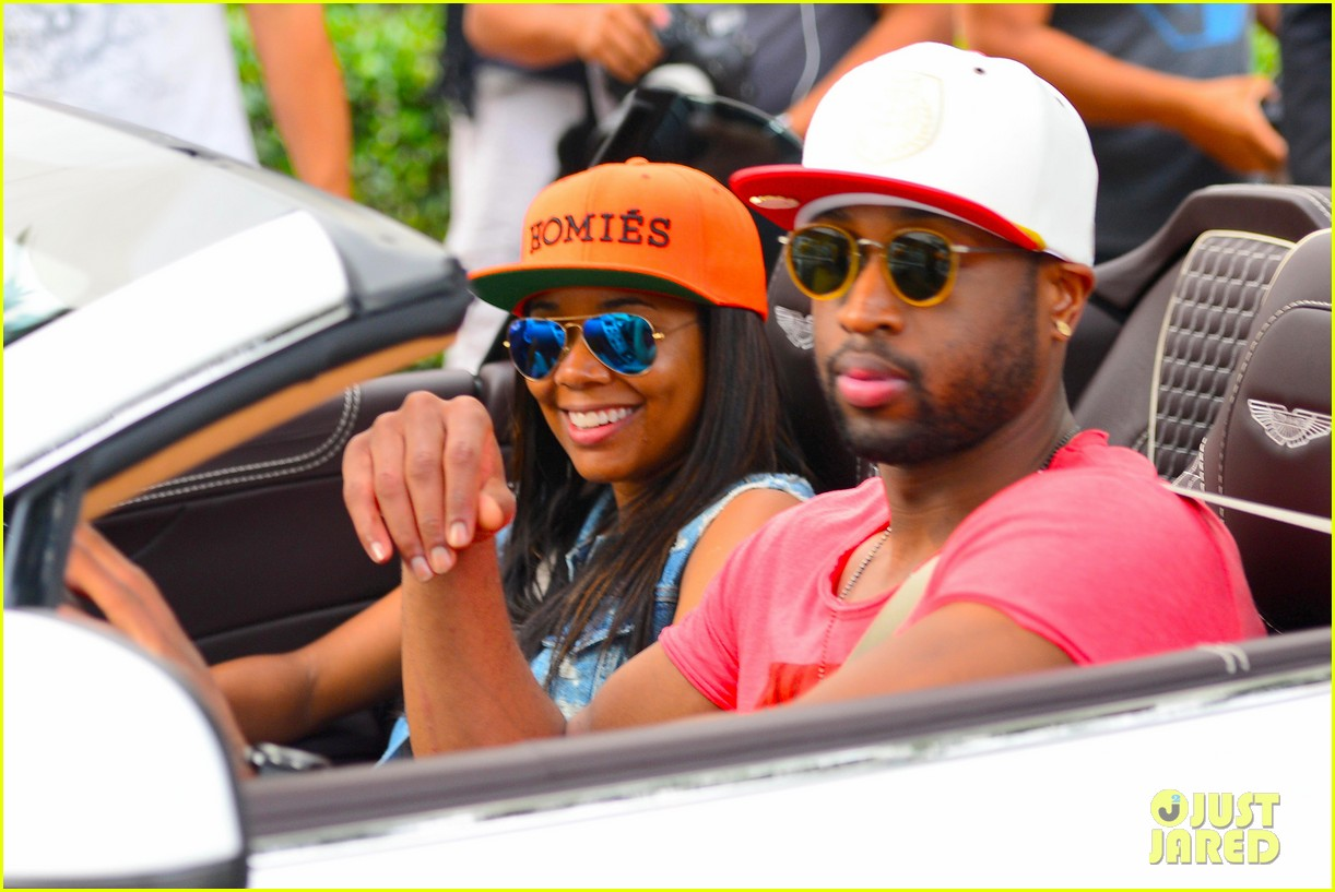 gabrielle union dwyane wade cruise around with the top down in miami 123061649