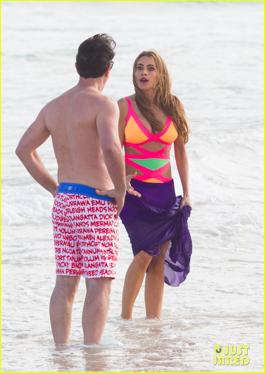sofia vergara rocks multi colored monokini for modern family filming 223058054