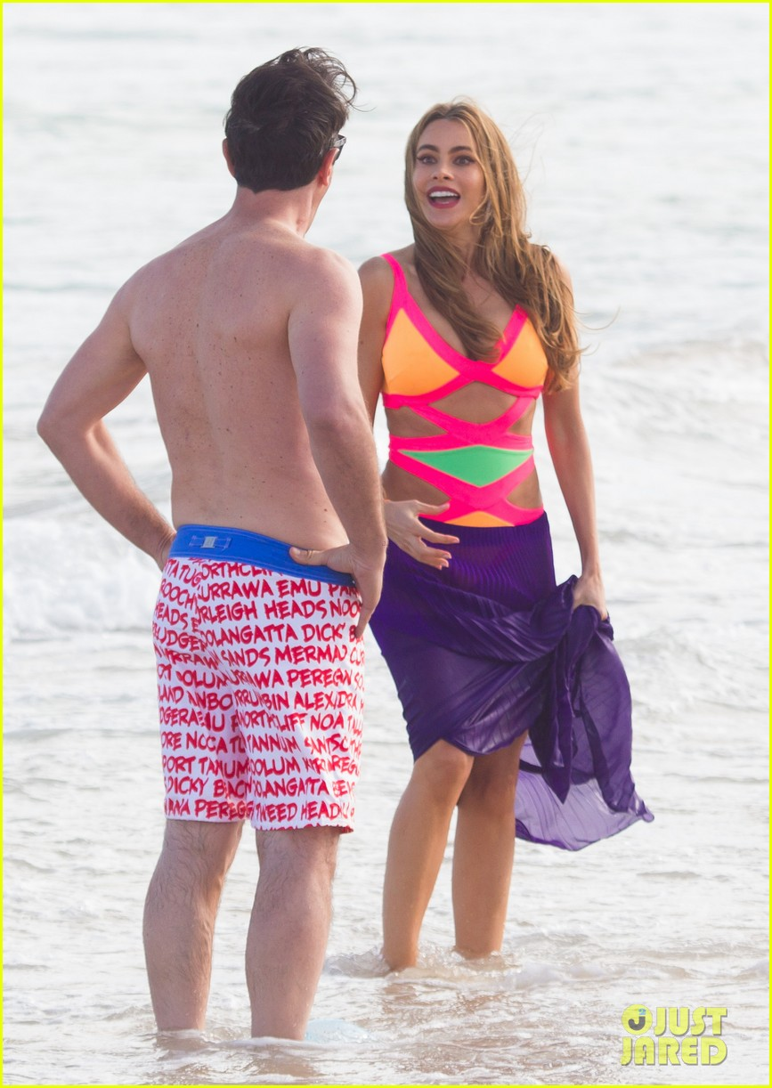 sofia vergara rocks multi colored monokini for modern family filming 273058059