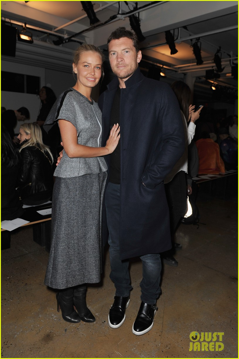 sam worthington lara bingle warm up at dion lee show 013049010