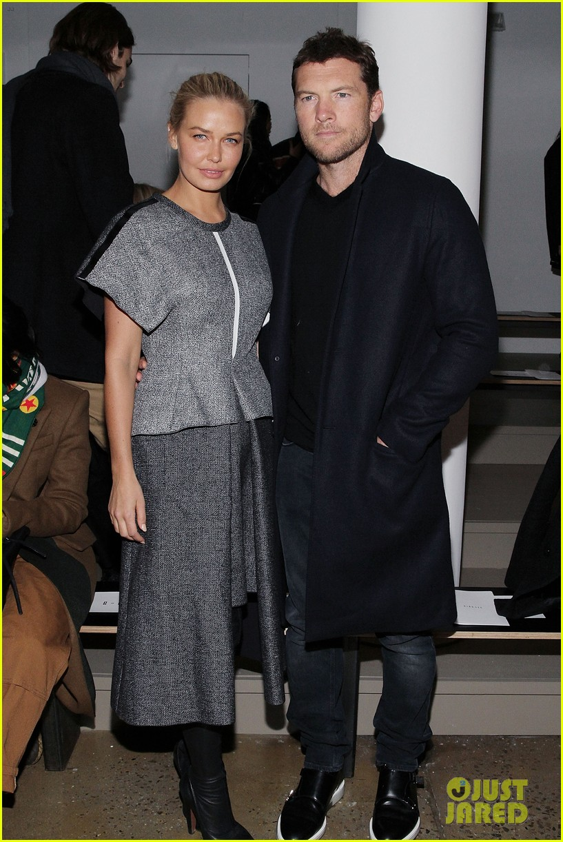 sam worthington lara bingle warm up at dion lee show 063049015