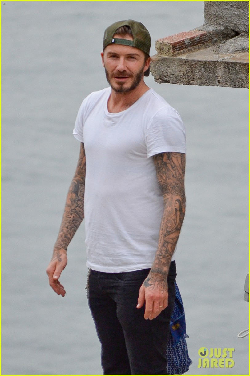david beckham goes shirtless on his balcony in rio 073067314
