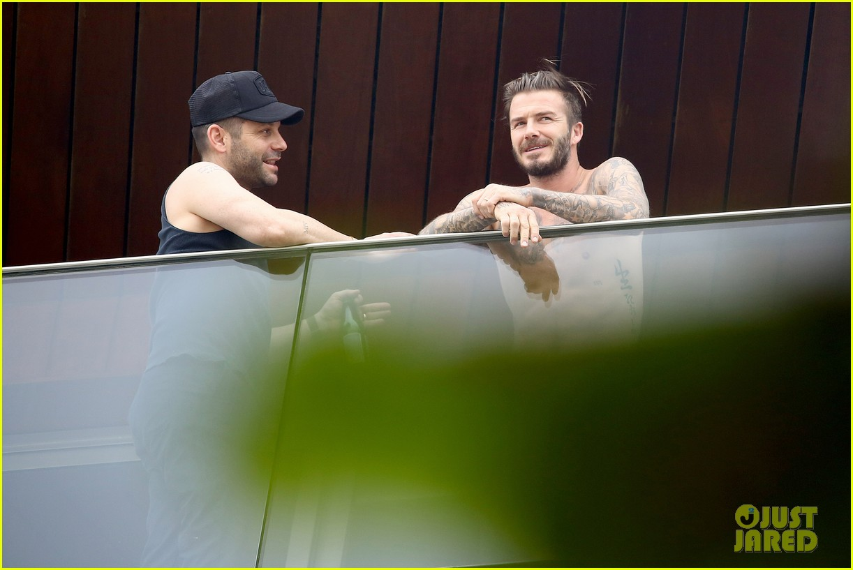 david beckham goes shirtless on his balcony in rio 113067318