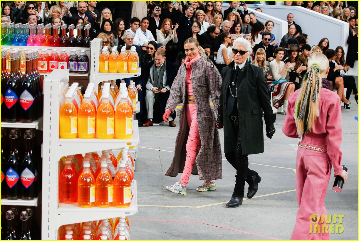 cara delevingne kendall jenner walk supermarket inspired runway at chanel show 143065994