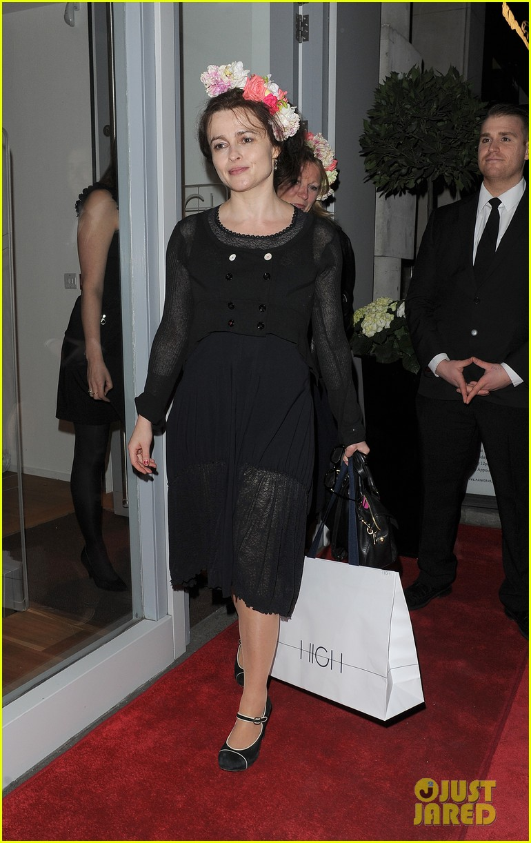 helena bonham carter wears a headband full of flowers to high opening 07